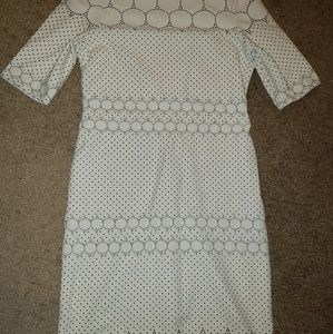 White stretchy knee length party dress